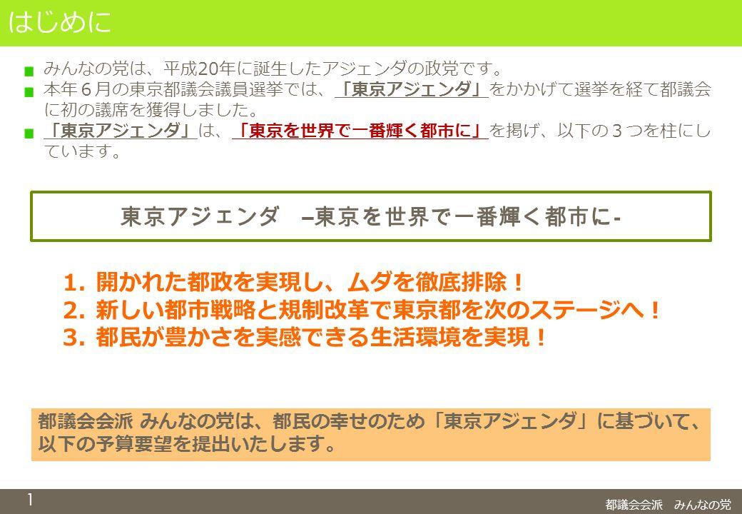 1 はじめに 都議会会派 みんなの党 みんなの党は、平成20年に誕生したアジェンダの政党です。 本年6月の東京都議会議員選挙では、「東京アジェンダ」をかかげて選挙を経て都議会 に初の議席を獲得しました。 「東京アジェンダ」は、「東京を世界で一番輝く都市に」を掲げ、以下の3つを柱にし ています。 東京アジェンダ – 東京を世界で一番輝く都市に - 1.