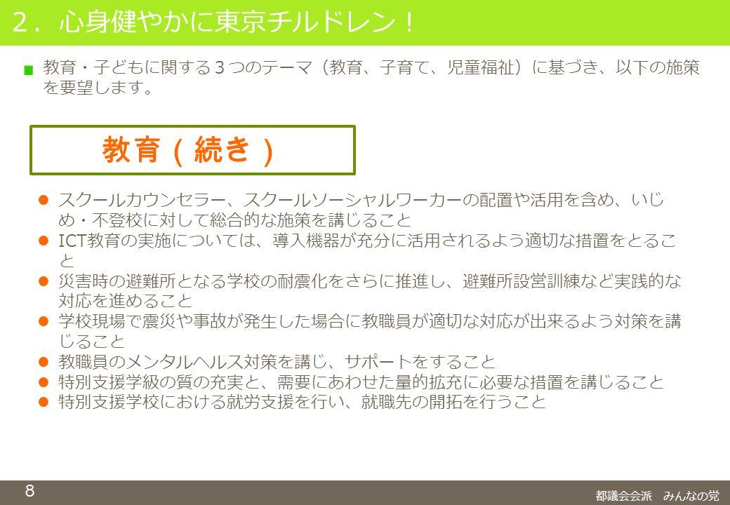 8 2.心身健やかに東京チルドレン! 都議会会派 みんなの党 教育(続き) スクールカウンセラー、スクールソーシャルワーカーの配置や活用を含め、いじ め・不登校に対して総合的な施策を講じること ICT教育の実施については、導入機器が充分に活用されるよう適切な措置をとるこ と 災害時の避難所となる学校の耐震化をさらに推進し、避難所設営訓練など実践的な 対応を進めること 学校現場で震災や事故が発生した場合に教職員が適切な対応が出来るよう対策を講 じること 教職員のメンタルヘルス対策を講じ、サポートをすること 特別支援学級の質の充実と、需要にあわせた量的拡充に必要な措置を講じること 特別支援学校における就労支援を行い、就職先の開拓を行うこと 教育・子どもに関する3つのテーマ(教育、子育て、児童福祉)に基づき、以下の施策 を要望します。