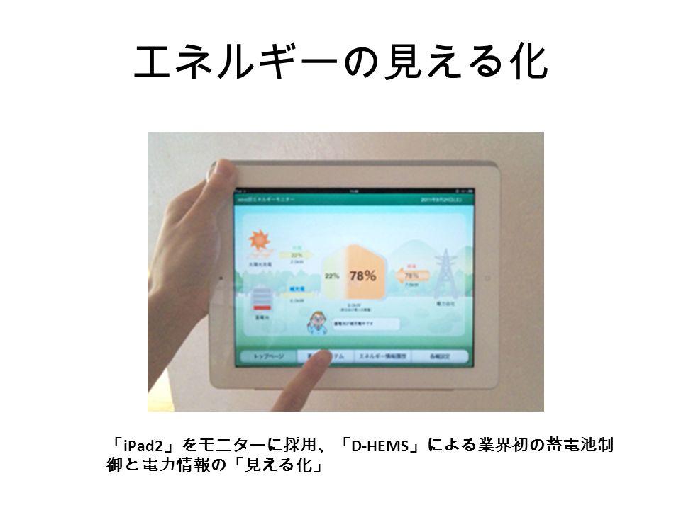 エネルギーの見える化 「 iPad2 」をモニターに採用、「 D-HEMS 」による業界初の蓄電池制 御と電力情報の「見える化」