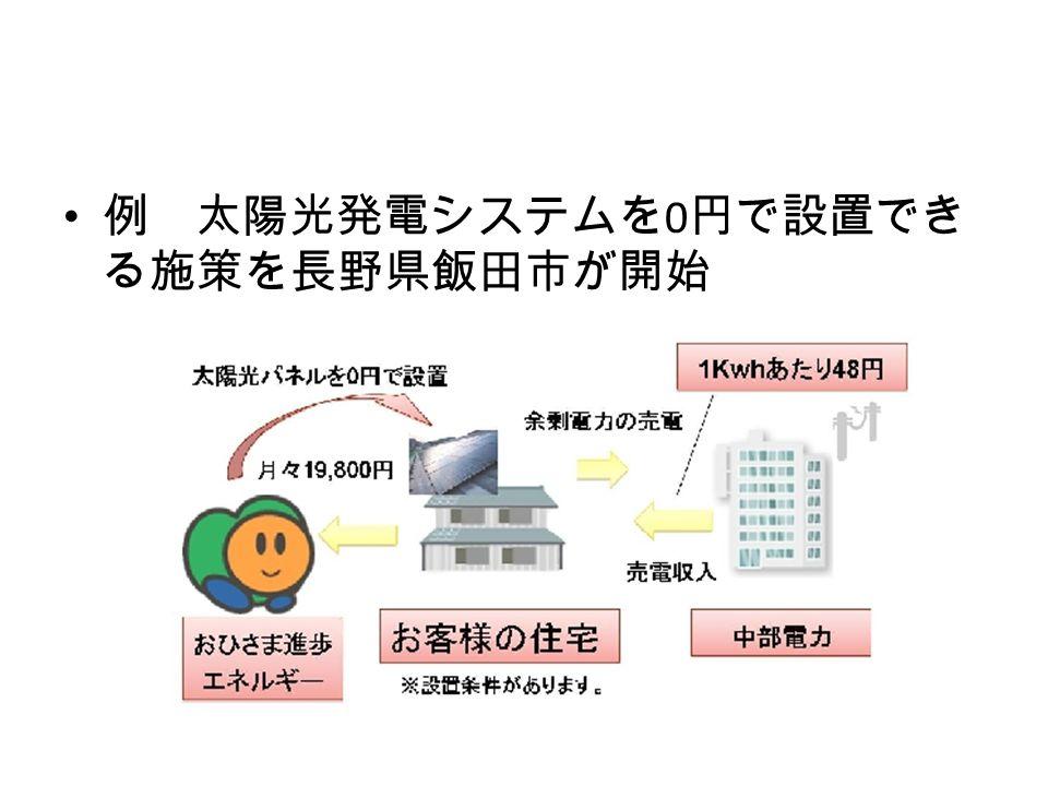 例 太陽光発電システムを 0 円で設置でき る施策を長野県飯田市が開始