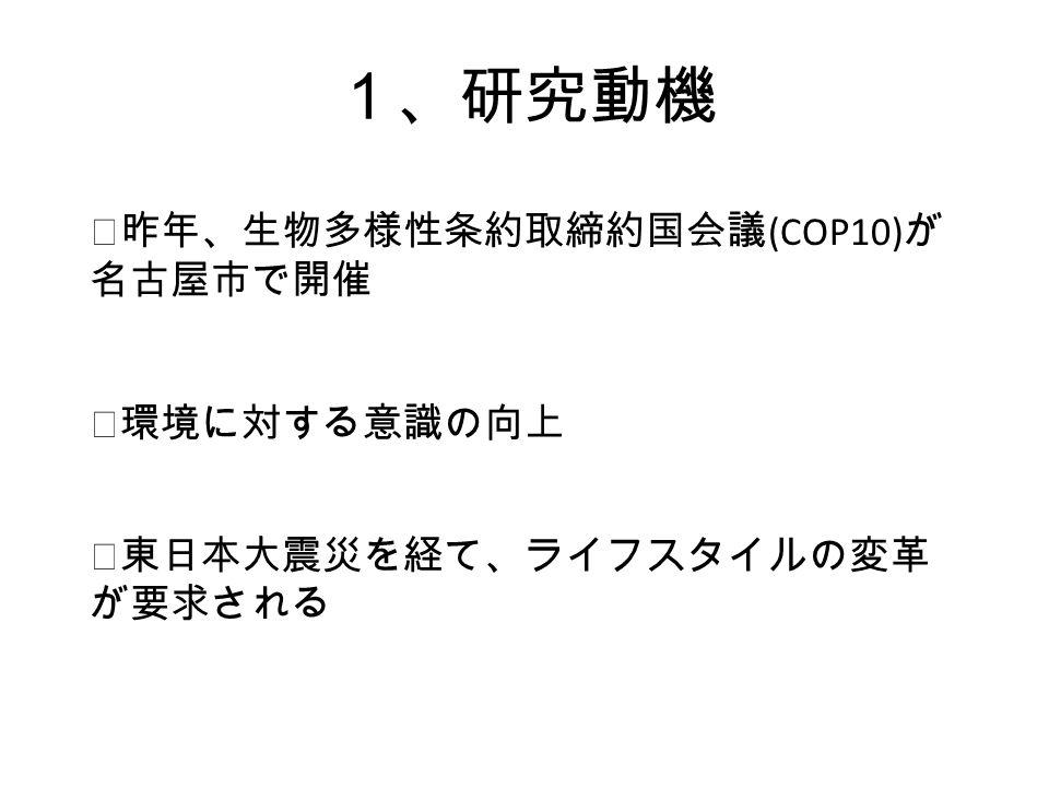 1、研究動機 ◎昨年、生物多様性条約取締約国会議 (COP10) が 名古屋市で開催 ◎環境に対する意識の向上 ◎東日本大震災を経て、ライフスタイルの変革 が要求される
