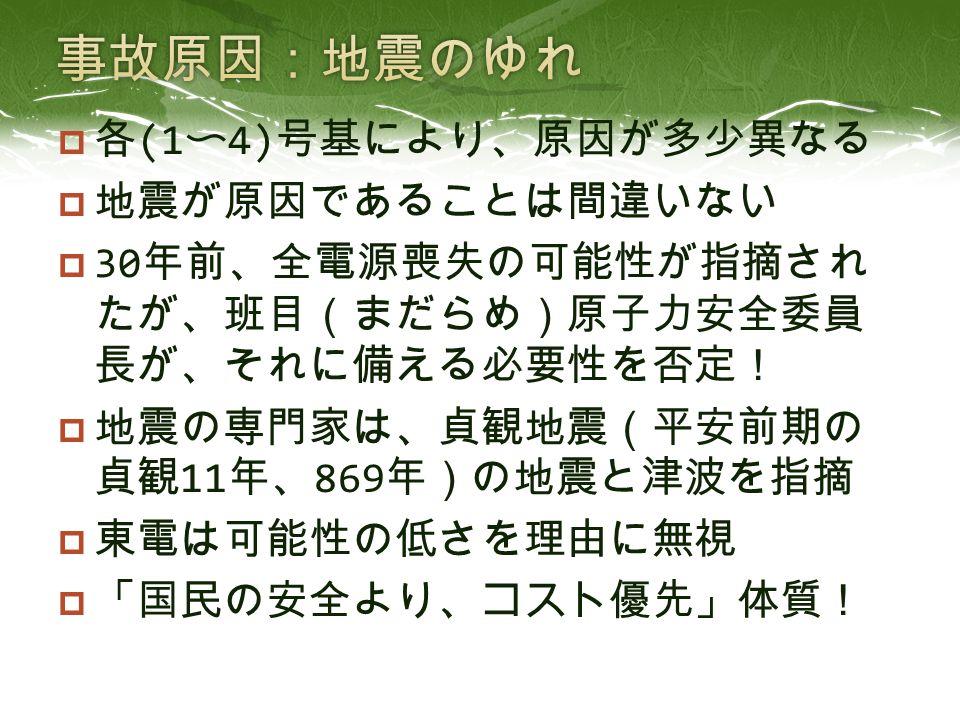  各 (1 〜 4) 号基により、原因が多少異なる  地震が原因であることは間違いない  30 年前、全電源喪失の可能性が指摘され たが、班目(まだらめ)原子力安全委員 長が、それに備える必要性を否定!  地震の専門家は、貞観地震(平安前期の 貞観 11 年、 869 年)の地震と津波を指摘  東電は可能性の低さを理由に無視  「国民の安全より、コスト優先」体質!