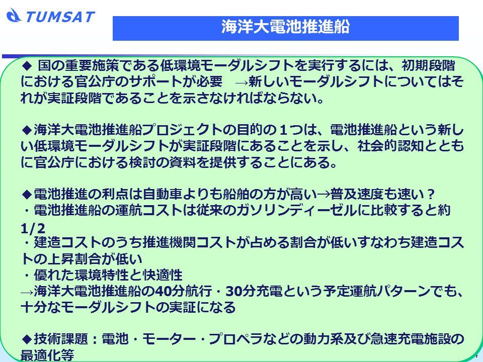 TUMSAT 14 ◆ 国の重要施策である低環境モーダルシフトを実行するには、初期段階 における官公庁のサポートが必要 → 新しいモーダルシフトについてはそ れが実証段階であることを示さなければならない。 ◆海洋大電池推進船プロジェクトの目的の1つは、電池推進船という新し い低環境モーダルシフトが実証段階にあることを示し、社会的認知ととも に官公庁における検討の資料を提供することにある。 ◆電池推進の利点は自動車よりも船舶の方が高い → 普及速度も速い? ・電池推進船の運航コストは従来のガソリンディーゼルに比較すると約 1/2 ・建造コストのうち推進機関コストが占める割合が低いすなわち建造コス トの上昇割合が低い ・優れた環境特性と快適性 → 海洋大電池推進船の 40 分航行・ 30 分充電という予定運航パターンでも、 十分なモーダルシフトの実証になる ◆技術課題:電池・モーター・プロペラなどの動力系及び急速充電施設の 最適化等 海洋大電池推進船