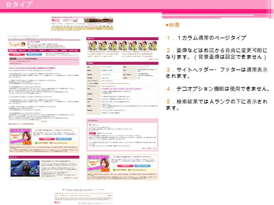 9 ● 特徴 1.1カラム通常のページタイプ 2.画像などはお店から自由に変更可能に なります。(背景画像は設定できません) 3.サイトヘッダー・フッターは通常表示 されます。 4.デコオプション機能は使用できません。 5.検索結果ではAランクの下に表示され ます。 Bタイプ