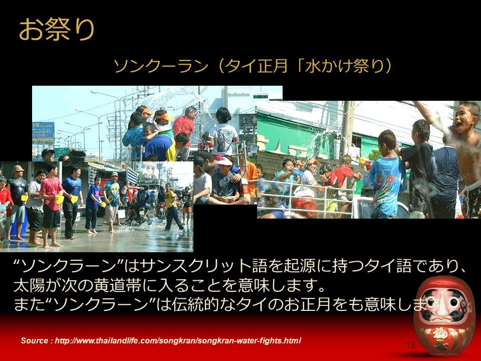 18 Source : http://www.thailandlife.com/songkran/songkran-water-fights.html お祭り ソンクラーン はサンスクリット語を起源に持つタイ語であり、 太陽が次の黄道帯に入ることを意味します。 また ソンクラーン は伝統的なタイのお正月をも意味します ソンクーラン(タイ正月「水かけ祭り)