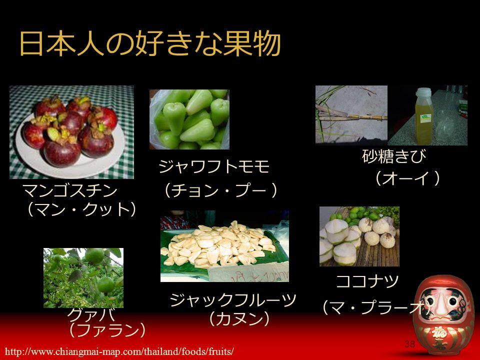 38 日本人の好きな果物 マンゴスチン (マン・クット) ジャックフルーツ http://www.chiangmai-map.com/thailand/foods/fruits/ (カヌン) (チョン・プー ) ジャワフトモモ (オーイ ) 砂糖きび (ファラン) グァバ (マ・プラーオ) ココナツ