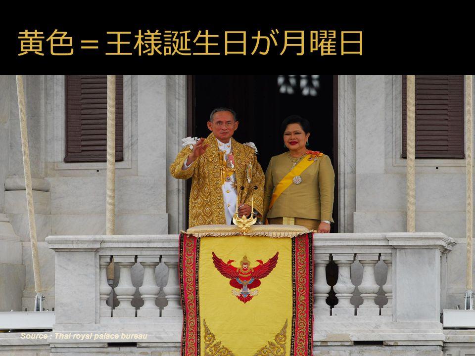 46 Source : Thai royal palace bureau 黄色=王様誕生日が月曜日