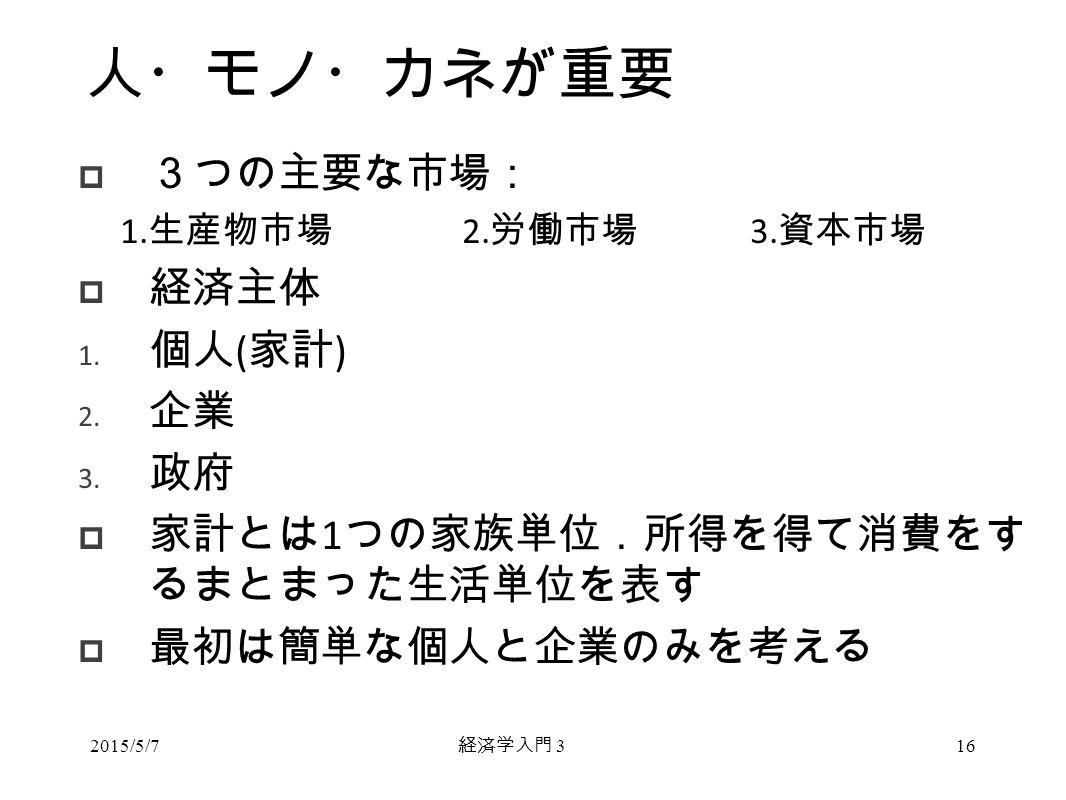 経済学入門 3 人・モノ・カネが重要  3つの主要な市場: 1. 生産物市場 2. 労働市場 3.