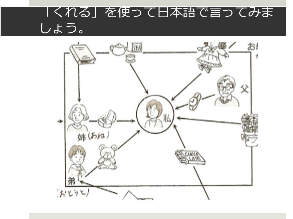 「 くれる 」 を使って日本語で言ってみま しょう 。