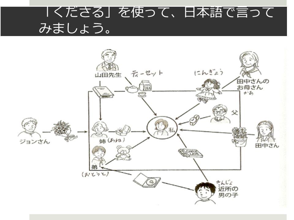 「 くださる 」 を使って 、 日本語で言って みましょう 。
