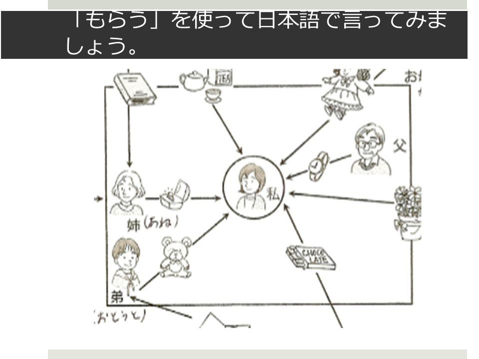 「 もらう 」 を使って日本語で言ってみま しょう 。