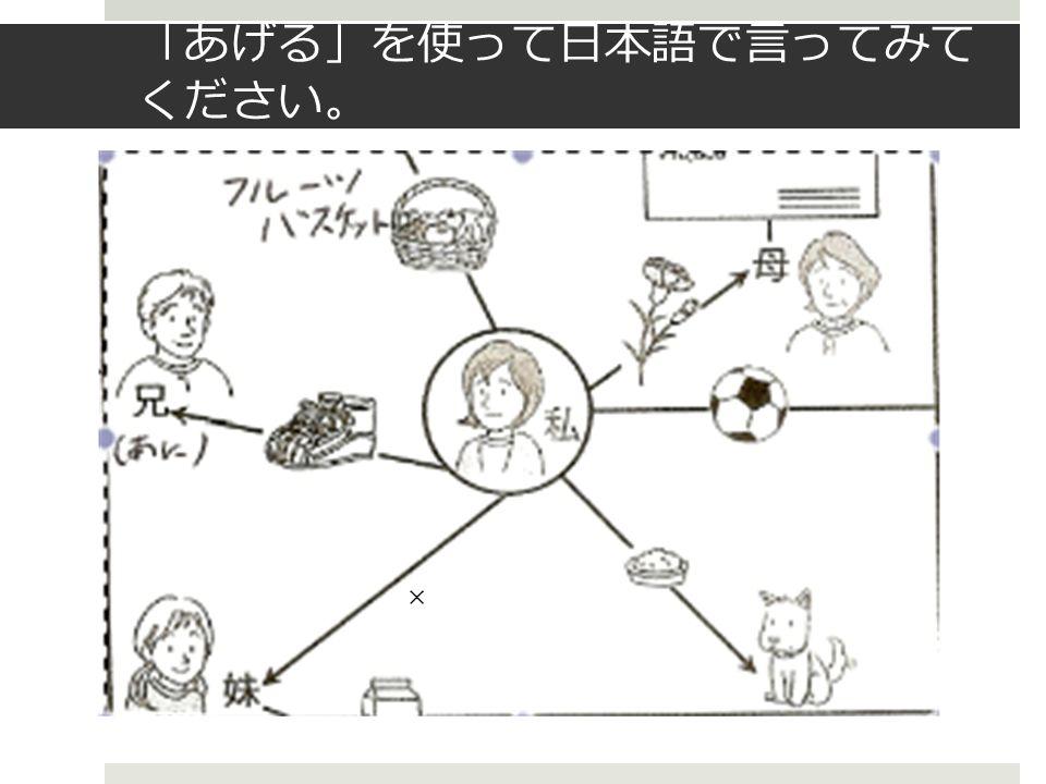 「 あげる 」 を使って日本語で言ってみて ください 。 ×
