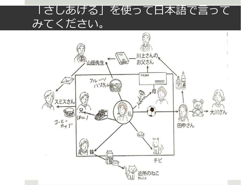 「 さしあげる 」 を使って日本語で言って みてください 。 ×