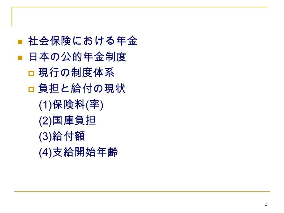 2 社会保険における年金 日本の公的年金制度  現行の制度体系  負担と給付の現状 (1) 保険料 ( 率 ) (2) 国庫負担 (3) 給付額 (4) 支給開始年齢