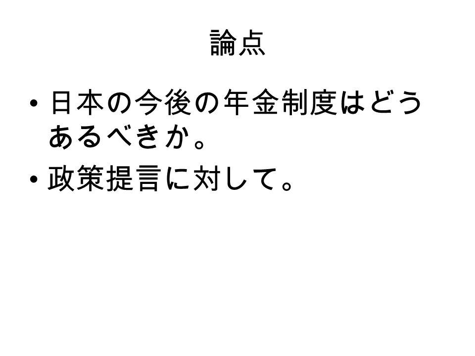 論点 日本の今後の年金制度はどう あるべきか。 政策提言に対して。