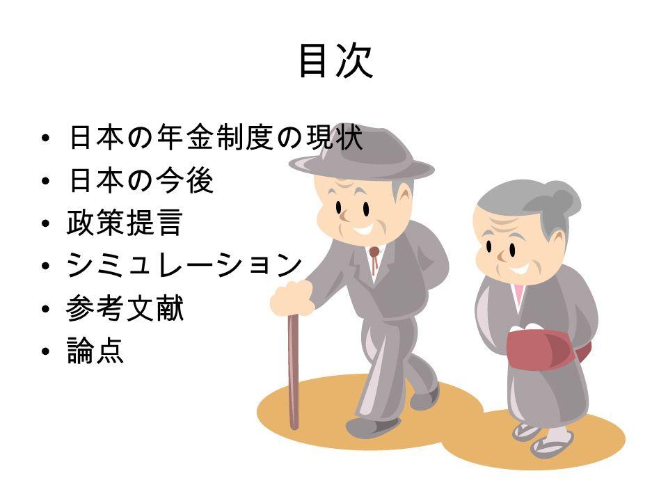 目次 日本の年金制度の現状 日本の今後 政策提言 シミュレーション 参考文献 論点