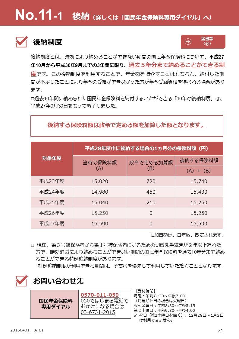 31 20150401 A-01 後納制度とは、時効により納めることができない期間の国民年金保険料について、平成 27 年 10 月から平成 30 年 9 月までの 3 年間に限り、 過去5年分まで納めることができる制 度 です。この後納制度を利用することで、年金額を増やすことはもちろん、納付した期 間が不足したことにより年金の受給ができなかった方が年金受給資格を得られる場合があり ます。 ※ 過去 10 年間に納め忘れた国民年金保険料を納付することができる「 10 年の後納制度」は、 平成 27 年 9 月 30 日をもって終了しました。 後納する保険料額は政令で定める額を加算した額となります。 ※ 加算額は、毎年度、改定されます。 対象年度 平成28年度中に後納する場合の1ヵ月分の保険料額(円) 当時の保険料額 (A) 政令で定める加算額 (B) 後納する保険料額 (A)+(B)(A)+(B) 平成23年度15,02072015,740 平成24年度14,98045015,430 平成25年度15,04021015,250 平成26年度15,2500 平成27年度15,5900 No.11 -1 後納 (詳しくは「国民年金保険料専用ダイヤル」へ) 後納制度 お問い合わせ先 国民年金保険料 専用ダイヤル 0570-011-050 050ではじまる電話で おかけになる場合は 03-6731-2015 【受付時間】 月曜:午前8:30~午後7:00 (月曜が休日の場合は火曜日) 火~金曜日:午前8:30~午後5:15 第2土曜日:午前9:30~午後4:00 ※ 祝日(第2土曜日を除く)、12月29日~1月3日 は利用できません。 届書等 (⑭) ※ 現在、第3号被保険者から第1号被保険者になるための切替え手続きが2年以上遅れた 方で、時効消滅により納めることができない期間の国民年金保険料を過去 10 年分まで納め ることができる特例追納制度があります。 特例追納制度が利用できる期間は、そちらを優先して利用していただくこととなります。 20160401 A-01