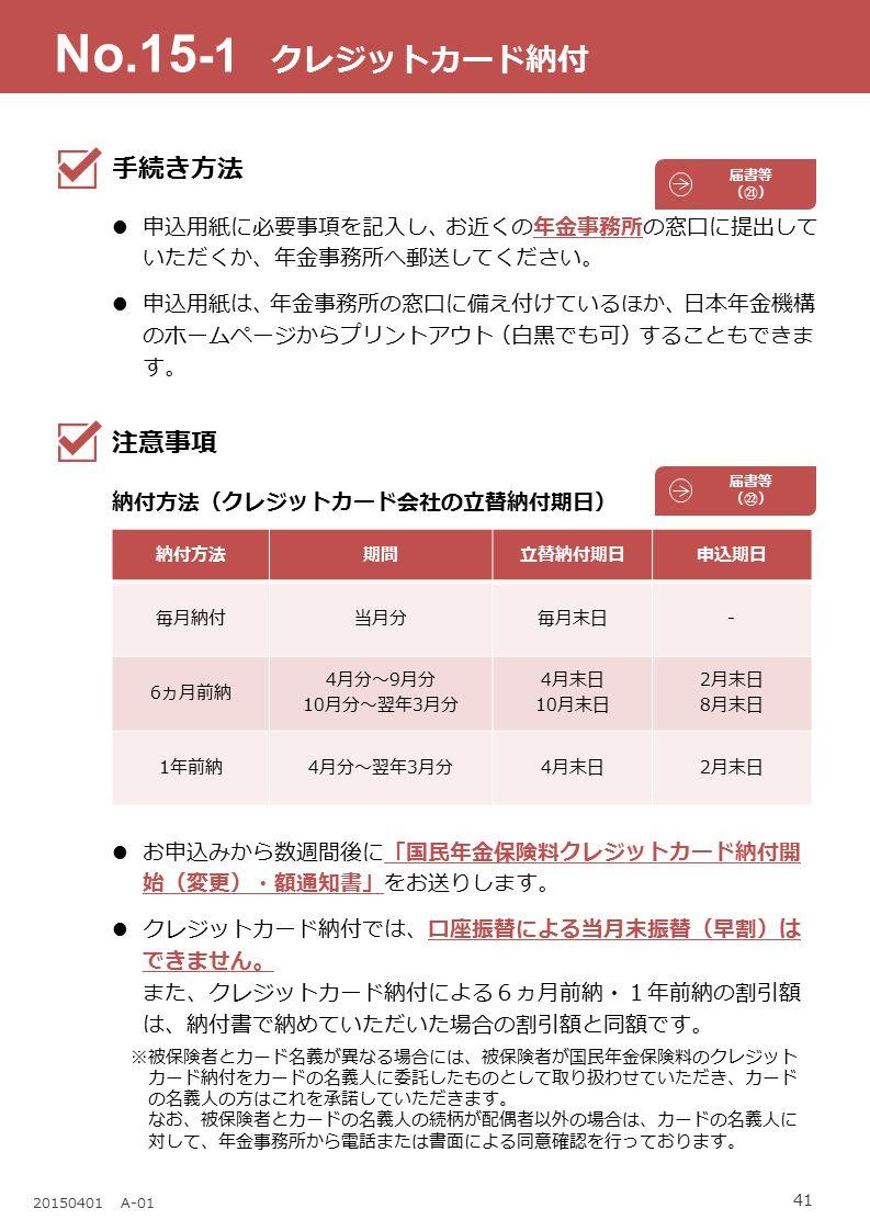 41 20150401 A-01 納付方法期間立替納付期日申込期日 毎月納付当月分毎月末日- 6ヵ月前納 4月分~9月分 10月分~翌年3月分 4月末日 10月末日 2月末日 8月末日 1年前納4月分~翌年3月分4月末日2月末日 No.15 -1 クレジットカード納付 手続き方法 申込用紙に必要事項を記入し、お近くの年金事務所の窓口に提出して いただくか、年金事務所へ郵送してください。 申込用紙は、年金事務所の窓口に備え付けているほか、日本年金機構 のホームページからプリントアウト(白黒でも可)することもできま す。 注意事項 納付方法(クレジットカード会社の立替納付期日) お申込みから数週間後に「国民年金保険料クレジットカード納付開 始(変更)・額通知書」をお送りします。 クレジットカード納付では、口座振替による当月末振替(早割)は できません。 また、クレジットカード納付による6ヵ月前納・1年前納の割引額 は、納付書で納めていただいた場合の割引額と同額です。 ※被保険者とカード名義が異なる場合には、被保険者が国民年金保険料のクレジット カード納付をカードの名義人に委託したものとして取り扱わせていただき、カード の名義人の方はこれを承諾していただきます。 なお、被保険者とカードの名義人の続柄が配偶者以外の場合は、カードの名義人に 対して、年金事務所から電話または書面による同意確認を行っております。 届書等 (㉒) 届書等 (㉑)