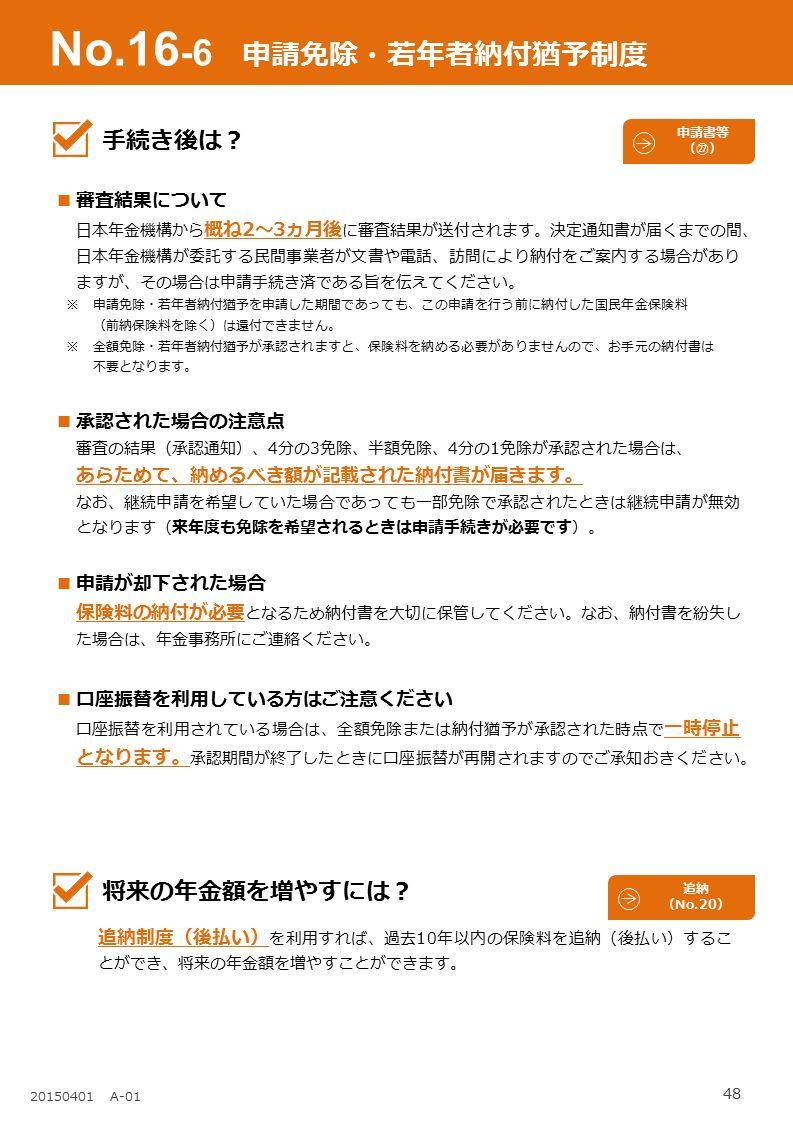 48 20150401 A-01 No.16 -6 申請免除・若年者納付猶予制度 審査結果について ⽇本年⾦機構から 概ね2〜3ヵ月後 に審査結果が送付されます。決定通知書が届くまでの間、 日本年金機構が委託する民間事業者が文書や電話、訪問により納付をご案内する場合があり ますが、その場合は申請手続き済である旨を伝えてください。 ※ 申請免除・若年者納付猶予を申請した期間であっても、この申請を行う前に納付した国民年金保険料 (前納保険料を除く)は還付できません。 ※ 全額免除・若年者納付猶予が承認されますと、保険料を納める必要がありませんので、お手元の納付書は 不要となります。 承認された場合の注意点 審査の結果(承認通知)、4分の3免除、半額免除、4分の1免除が承認された場合は、 あらためて、納めるべき額が記載された納付書が届きます。 なお、継続申請を希望していた場合であっても一部免除で承認されたときは継続申請が無効 となります(来年度も免除を希望されるときは申請⼿続きが必要です)。 申請が却下された場合 保険料の納付が必要 となるため納付書を大切に保管してください。なお、納付書を紛失し た場合は、年金事務所にご連絡ください。 ⼝座振替を利⽤している⽅はご注意ください 口座振替を利用されている場合は、全額免除または納付猶予が承認された時点で 一時停止 となります。 承認期間が終了したときに口座振替が再開されますのでご承知おきください。 手続き後は? 将来の年金額を増やすには? 追納制度(後払い) を利用すれば、過去10年以内の保険料を追納(後払い)するこ とができ、将来の年金額を増やすことができます。 追納 (No.20) 申請書等 (㉗)