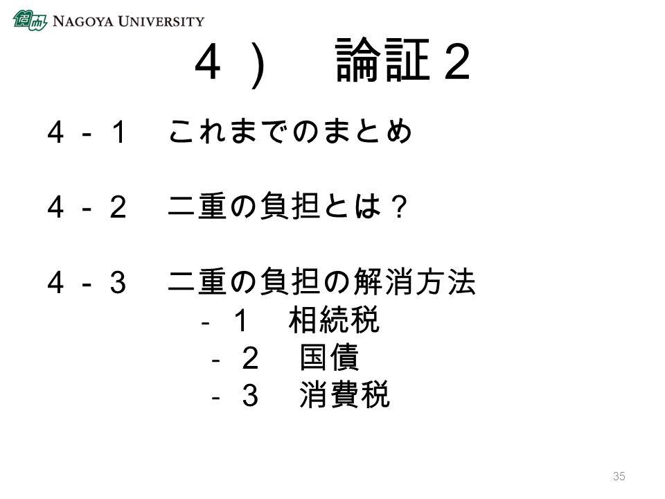 4) 論証2 4-1 これまでのまとめ 4-2 二重の負担とは? 4-3 二重の負担の解消方法 - 1 相続税 - 2 国債 - 3 消費税 35