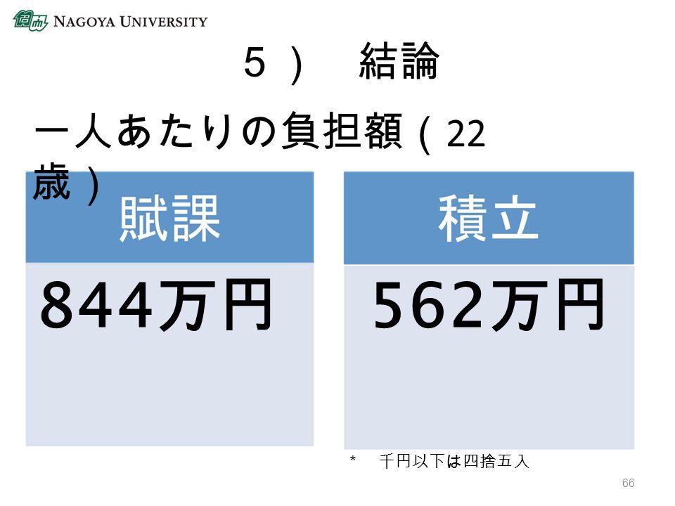 5) 結論 * 千円以下は四捨五入 844 万円 562 万円 66 一人あたりの負担額( 22 歳)