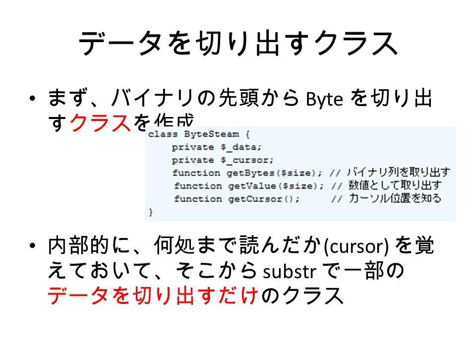 データを切り出すクラス まず、バイナリの先頭から Byte を切り出 すクラスを作成 内部的に、何処まで読んだか (cursor) を覚 えておいて、そこから substr で一部の データを切り出すだけのクラス