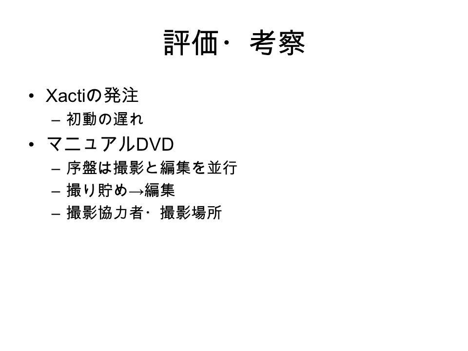 評価・考察 Xacti の発注 – 初動の遅れ マニュアル DVD – 序盤は撮影と編集を並行 – 撮り貯め → 編集 – 撮影協力者・撮影場所