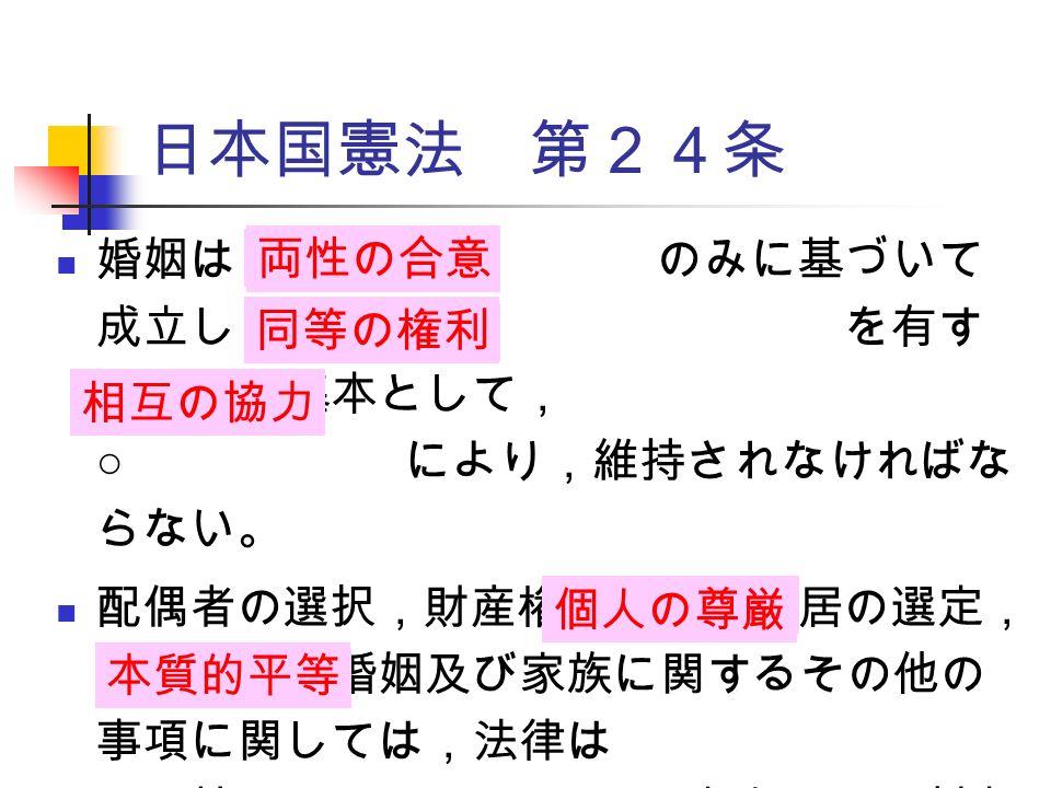 婚姻は のみに基づいて 成立し,夫婦が を有す ることを基本として, ○ により,維持されなければな らない。 配偶者の選択,財産権,相続,住居の選定, 離婚並びに婚姻及び家族に関するその他の 事項に関しては,法律は と両性の ○ に立脚して,制定 されなければならない。 日本国憲法 第24条 両性の合意 同等の権利 相互の協力 個人の尊厳 本質的平等