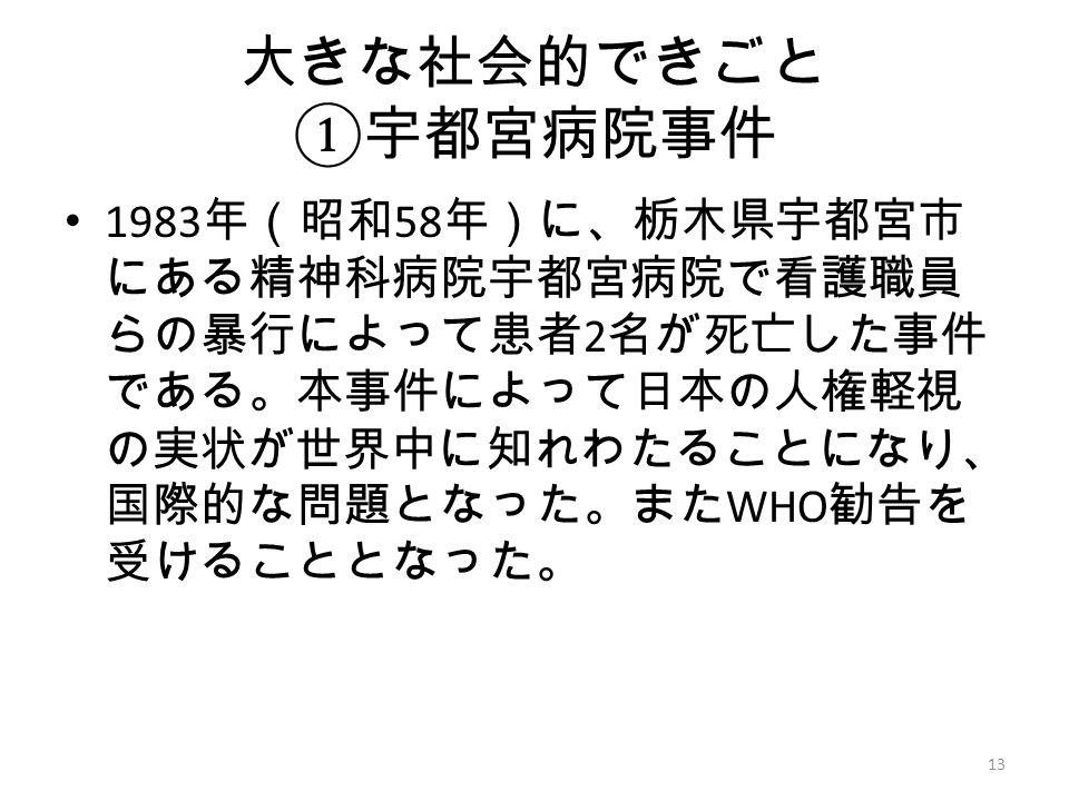 大きな社会的できごと ① 宇都宮病院事件 1983 年(昭和 58 年)に、栃木県宇都宮市 にある精神科病院宇都宮病院で看護職員 らの暴行によって患者 2 名が死亡した事件 である。本事件によって日本の人権軽視 の実状が世界中に知れわたることになり、 国際的な問題となった。また WHO 勧告を 受けることとなった。 13