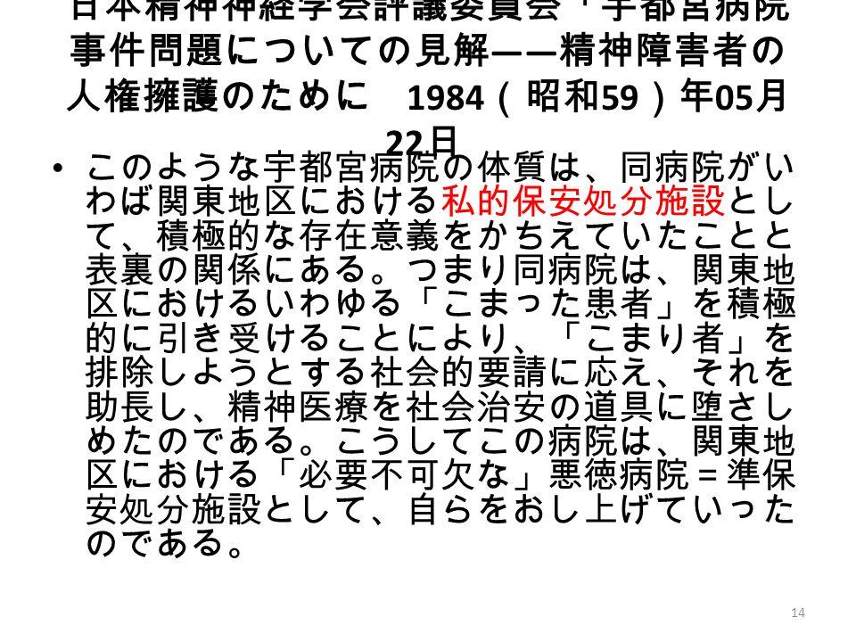 日本精神神経学会評議委員会「宇都宮病院 事件問題についての見解 ―― 精神障害者の 人権擁護のために 1984 (昭和 59 )年 05 月 22 日 このような宇都宮病院の体質は、同病院がい わば関東地区における私的保安処分施設とし て、積極的な存在意義をかちえていたことと 表裏の関係にある。つまり同病院は、関東地 区におけるいわゆる「こまった患者」を積極 的に引き受けることにより、「こまり者」を 排除しようとする社会的要請に応え、それを 助長し、精神医療を社会治安の道具に堕さし めたのである。こうしてこの病院は、関東地 区における「必要不可欠な」悪徳病院=準保 安処分施設として、自らをおし上げていった のである。 14