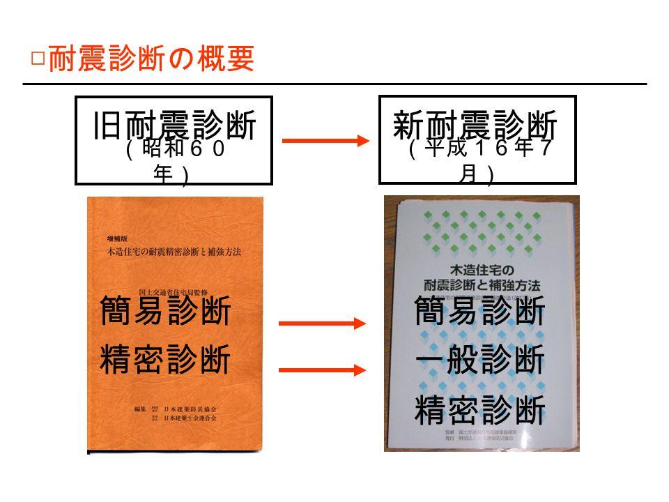 □ 耐震診断の概要 旧耐震診断 (昭和60 年) 新耐震診断 (平成16年7 月) 簡易診断 精密診断 簡易診断 一般診断 精密診断