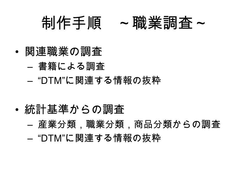 制作手順 ~職業調査~ 関連職業の調査 – 書籍による調査 – DTM に関連する情報の抜粋 統計基準からの調査 – 産業分類,職業分類,商品分類からの調査 – DTM に関連する情報の抜粋