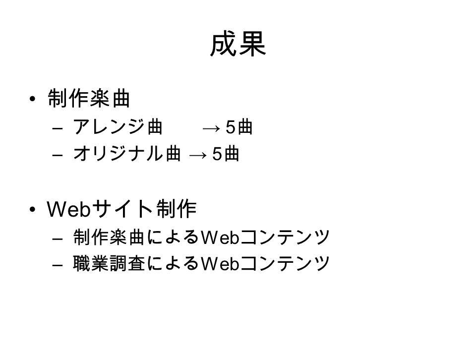成果 制作楽曲 – アレンジ曲 → 5 曲 – オリジナル曲 → 5 曲 Web サイト制作 – 制作楽曲による Web コンテンツ – 職業調査による Web コンテンツ