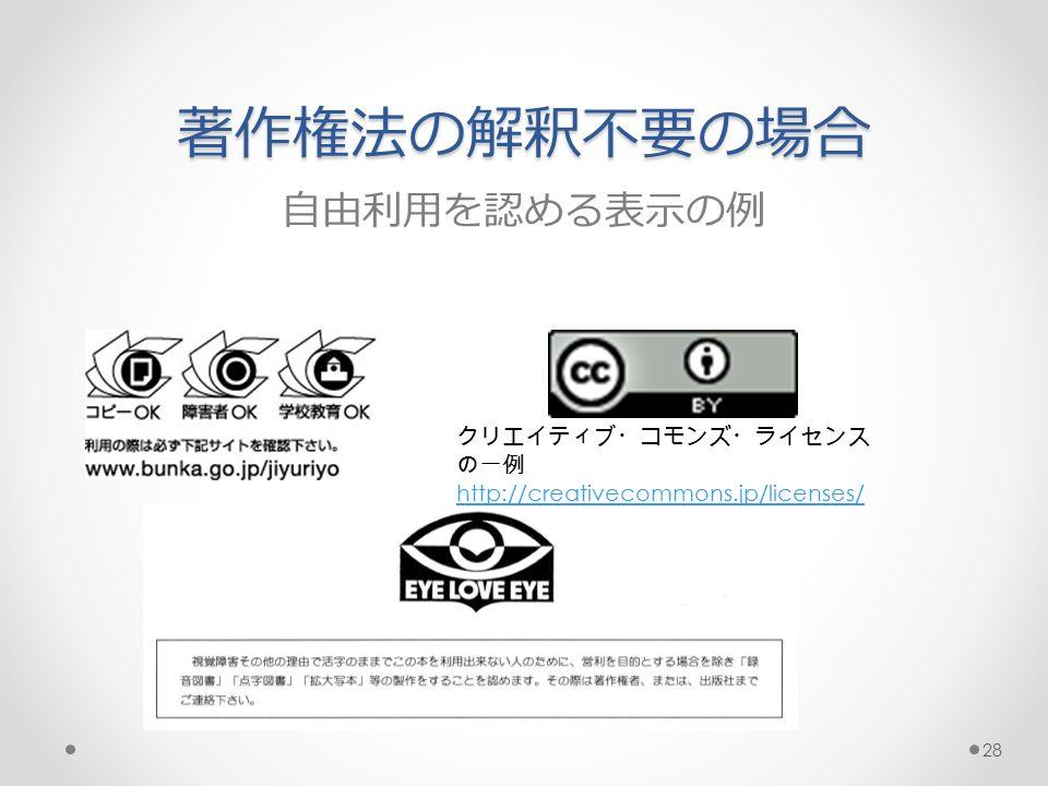 著作権法の解釈不要の場合 自由利用を認める表示の例 クリエイティブ・コモンズ・ライセンス の一例 http://creativecommons.jp/licenses/ 28
