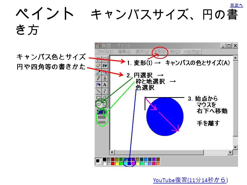 元ファイル作成 方法: 図ペイントで 描く スタート( Windows キー) プログラム (p キー ) アクセサリー ペイント 目次へ YouTube 復習 (7 分 54 秒から )