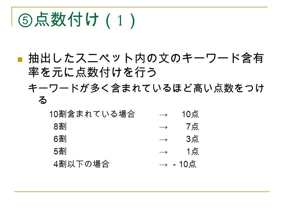 ⑤点数付け( 1 ) 抽出したスニペット内の文のキーワード含有 率を元に点数付けを行う キーワードが多く含まれているほど高い点数をつけ る 10 割含まれている場合 → 10 点 8 割 → 7 点 6 割 → 3 点 5 割 → 1 点 4 割以下の場合 → - 10 点