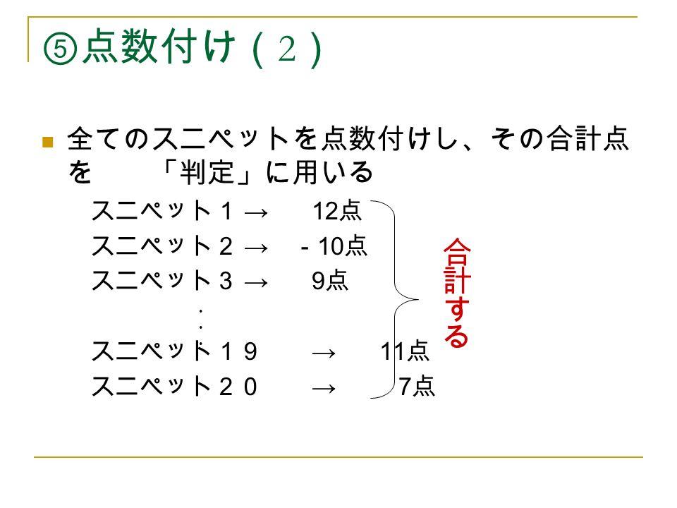 ⑤点数付け( 2 ) 全てのスニペットを点数付けし、その合計点 を 「判定」に用いる スニペット1 →12 点 スニペット2 → - 10 点 スニペット3 →9 点 スニペット19 →11 点 スニペット20 → 7 点