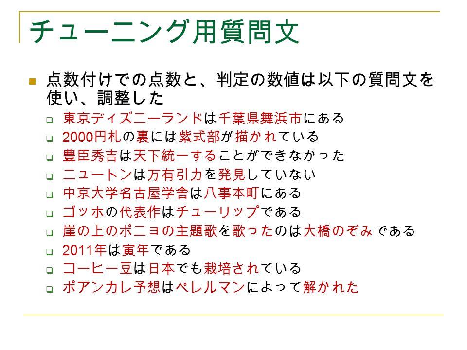 チューニング用質問文 点数付けでの点数と、判定の数値は以下の質問文を 使い、調整した  東京ディズニーランドは千葉県舞浜市にある  2000 円札の裏には紫式部が描かれている  豊臣秀吉は天下統一することができなかった  ニュートンは万有引力を発見していない  中京大学名古屋学舎は八事本町にある  ゴッホの代表作はチューリップである  崖の上のポニョの主題歌を歌ったのは大橋のぞみである  2011 年は寅年である  コーヒー豆は日本でも栽培されている  ポアンカレ予想はペレルマンによって解かれた