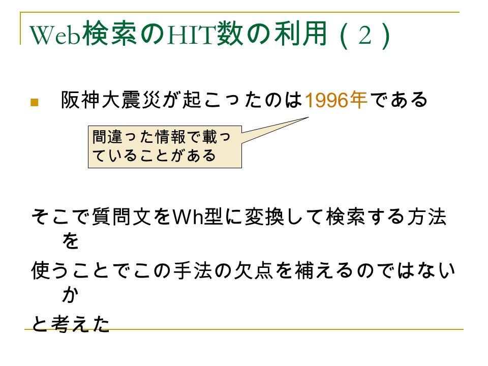 阪神大震災が起こったのは 1996 年である Web 検索の HIT 数の利用( 2 ) 間違った情報で載っ ていることがある そこで質問文を Wh 型に変換して検索する方法 を 使うことでこの手法の欠点を補えるのではない か と考えた