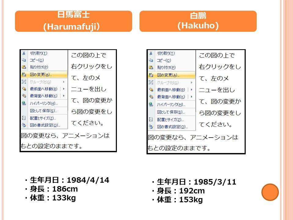 日馬富士 (Harumafuji ) 白鵬 (Hakuho) ・生年月日: 1984/4/14 ・身長: 186cm ・体重: 133kg ・生年月日: 1985/3/11 ・身長: 192cm ・体重: 153kg
