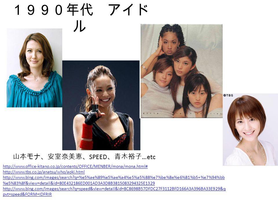 1990年代 アイド ル http://www.office-kitano.co.jp/contents/OFFICE/MENBER/mona/mona.html# http://www.tbs.co.jp/anatsu/who/aoki.html http://www.bing.com/images/search q=%e5%ae%89%e5%ae%a4%e5%a5%88%e7%be%8e%e6%81%b5+%e7%94%bb %e5%83%8f&view=detail&id=80E432186ED001AD3A3D8B3815083294325E1329 http://www.bing.com/images/search q=speed&view=detail&id=8C8698B57DFDC27F3112BFD166A3A396BA33E929&q pvt=speed&FORM=IDFRIR 山本モナ、安室奈美恵、 SPEED 、青木裕子 …etc