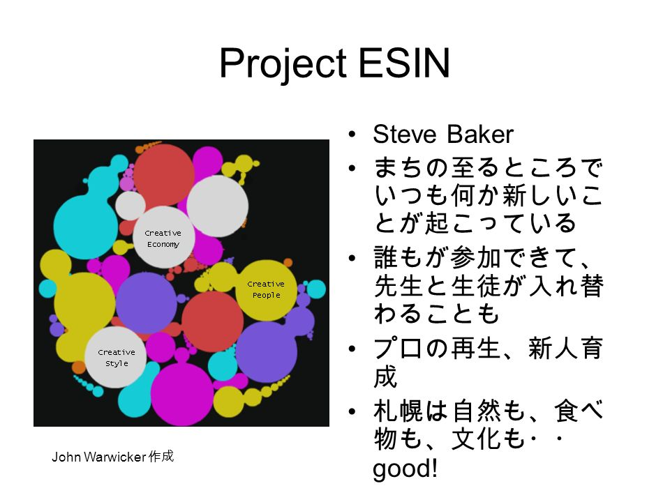 Project ESIN Steve Baker まちの至るところで いつも何か新しいこ とが起こっている 誰もが参加できて、 先生と生徒が入れ替 わることも プロの再生、新人育 成 札幌は自然も、食べ 物も、文化も・・ good.