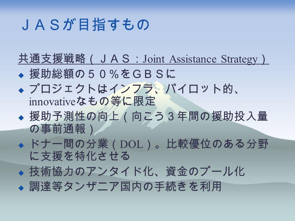 JASが目指すもの 共通支援戦略(JAS: Joint Assistance Strategy )  援助総額の50%をGBSに  プロジェクトはインフラ、パイロット的、 innovative なもの等に限定  援助予測性の向上(向こう3年間の援助投入量 の事前通報)  ドナー間の分業( DOL )。比較優位のある分野 に支援を特化させる  技術協力のアンタイド化、資金のプール化  調達等タンザニア国内の手続きを利用