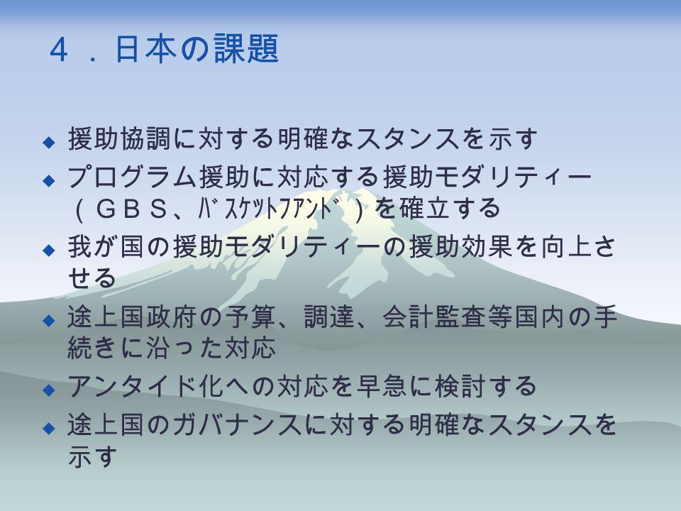 4.日本の課題  援助協調に対する明確なスタンスを示す  プログラム援助に対応する援助モダリティー (GBS、バスケットファンド)を確立する  我が国の援助モダリティーの援助効果を向上さ せる  途上国政府の予算、調達、会計監査等国内の手 続きに沿った対応  アンタイド化への対応を早急に検討する  途上国のガバナンスに対する明確なスタンスを 示す