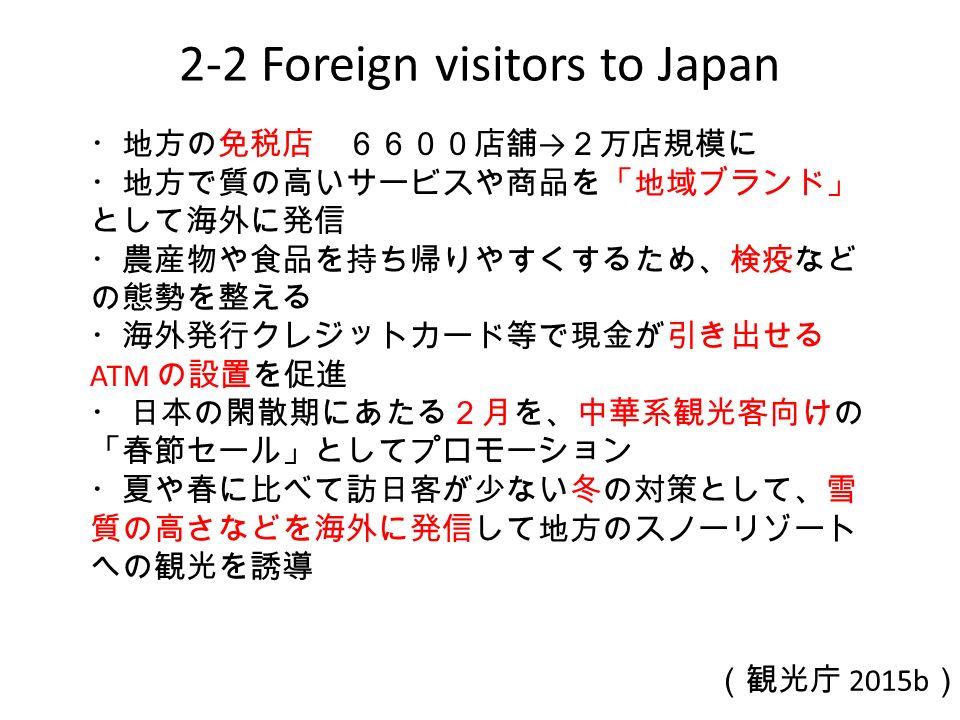 2-2 Foreign visitors to Japan ・地方の免税店 6600店舗 → 2万店規模に ・地方で質の高いサービスや商品を「地域ブランド」 として海外に発信 ・農産物や食品を持ち帰りやすくするため、検疫など の態勢を整える ・海外発行クレジットカード等で現金が引き出せる ATM の設置を促進 ・ 日本の閑散期にあたる2月を、中華系観光客向けの 「春節セール」としてプロモーション ・夏や春に比べて訪日客が少ない冬の対策として、雪 質の高さなどを海外に発信して地方のスノーリゾート への観光を誘導 (観光庁 2015b )