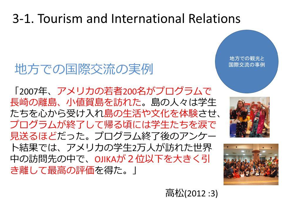 「 2007 年、アメリカの若者 200 名がプログラムで 長崎の離島、小値賀島を訪れた。島の人々は学生 たちを心から受け入れ島の生活や文化を体験させ、 プログラムが終了して帰る頃には学生たちを涙で 見送るほどだった。プログラム終了後のアンケー ト結果では、アメリカの学生 2 万人が訪れた世界 中の訪問先の中で、 OJIKA が2位以下を大きく引 き離して最高の評価を得た。」 高松 (2012 :3) 地方での国際交流の実例 3-1.