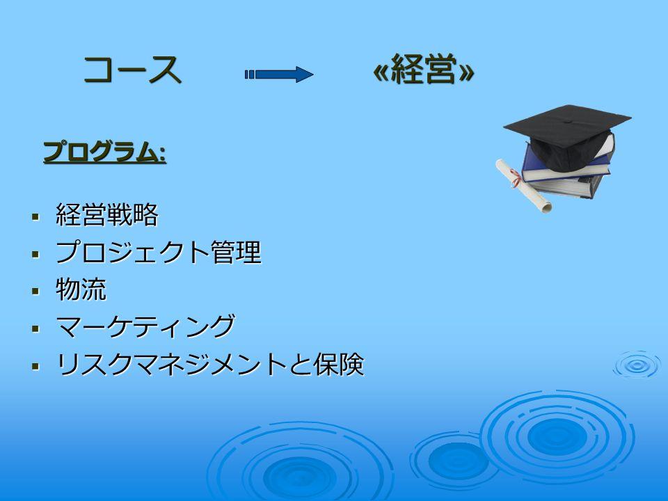  経営戦略  プロジェクト管理  物流  マーケティング  リスクマネジメントと保険 コース « 経営 » プログラム :