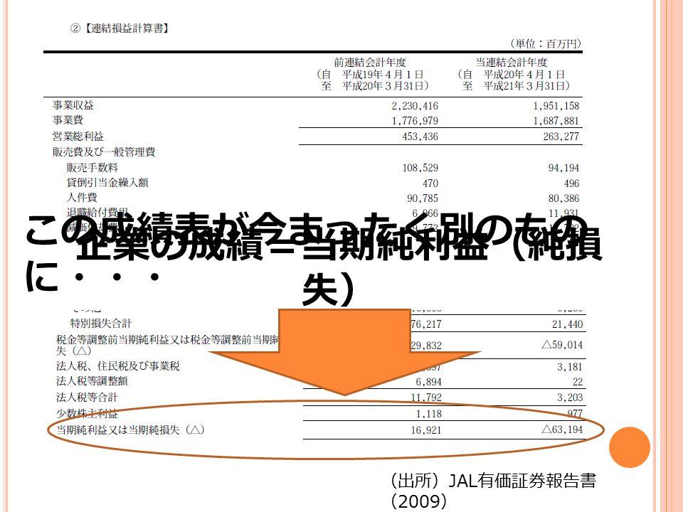 ~中略~ (出所) JAL 有価証券報告書 ( 2009 ) 企業の成績表=損益計算書 企業の成績=当期純利益(純損 失) この成績表が今まったく別のもの に・・・