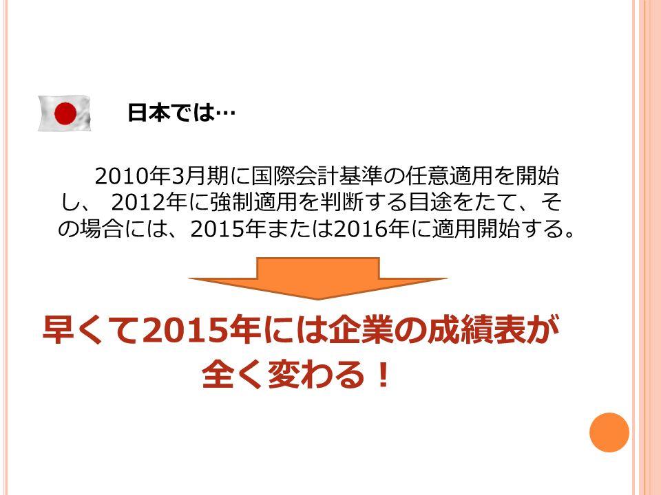 日本では … 2010 年 3 月期に国際会計基準の任意適用を開始 し、 2012 年に強制適用を判断する目途をたて、そ の場合には、 2015 年または 2016 年に適用開始する。 早くて 2015 年には企業の成績表が 全く変わる!
