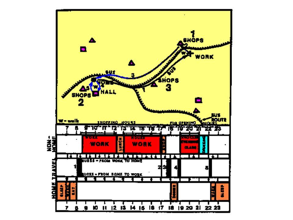 交通ネットワークと活動機会移動軌跡 活動スケジュール